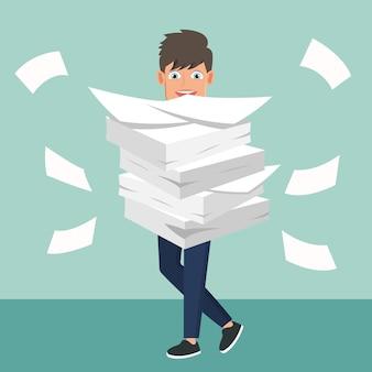 書類をやっている忙しいビジネスマン