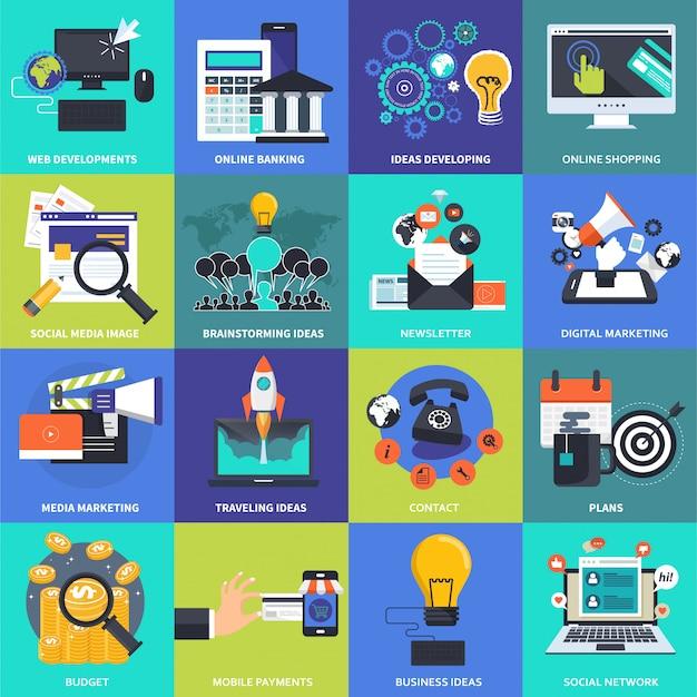 ビジネス、管理、技術、財政のためのアイコンセット