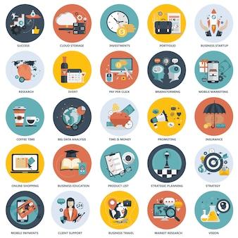 ビジネス、技術、財政、教育のためのカラフルなアイコンセット