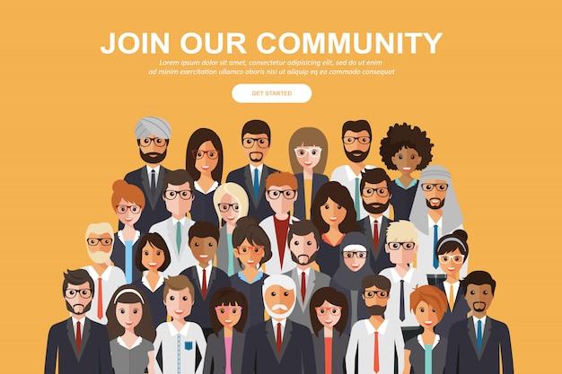 ビジネスまたは創造的なコミュニティとして団結した人々の群衆