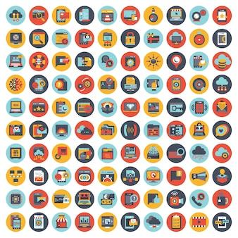 Набор векторных иконок с элементами для мобильных концепций и веб-приложений