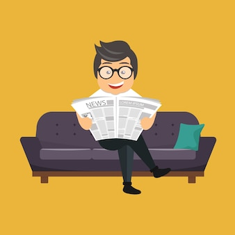 新聞を読んでいる男