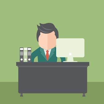 オフィスに座っているビジネスマン