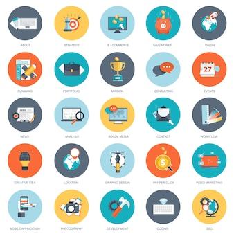 Набор иконок для бизнеса и технологий