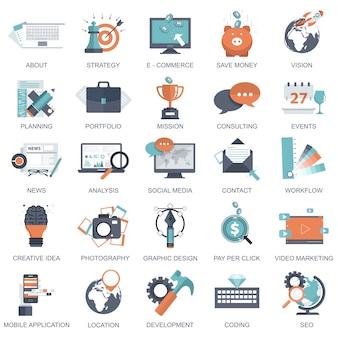 Набор плоских значков дизайна для бизнеса