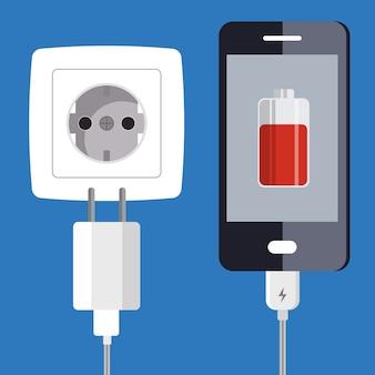 スマートフォンと充電器アダプター