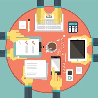 ビジネス会議でのプロジェクト分析