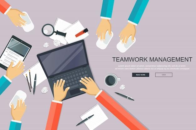 チームワークの管理、オフィスデスクのコンセプト