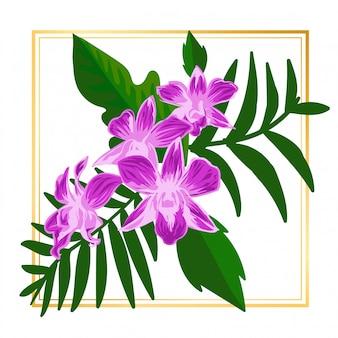 かわいい紫の花の花ヴィンテージリーフ自然