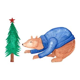 クリスマスツリーとジャケットを着て水彩クマ