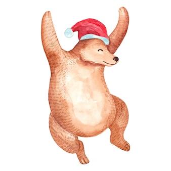 水彩で遊んで幸せなクリスマスのクマ