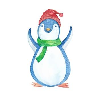 Смешной пингвин в шляпе и зеленом шарфе в акварели
