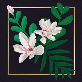 花の白い花ヴィンテージの葉自然