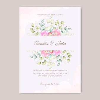 美しい水彩花のウェディングカード