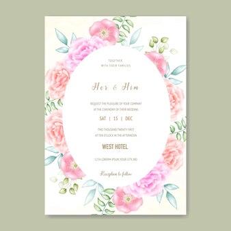 ビンテージ結婚式招待状花のフレーム