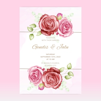 花と結婚式の招待状テンプレートカード