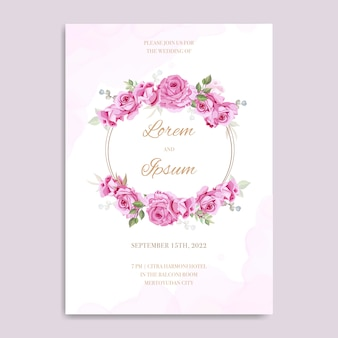 美しいピンクの花の結婚式の招待状