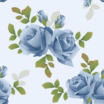 Красивый бесшовный узор цветочные голубая роза вектор