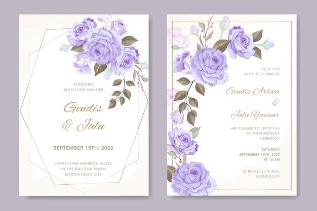 ゴールデンフレームと美しい花カード
