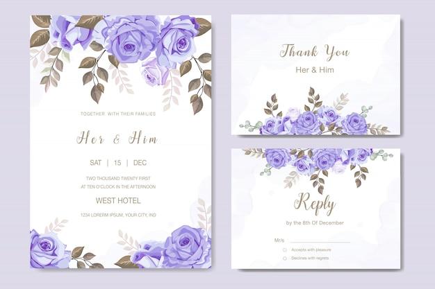 エレガントな結婚式の招待カードセットテンプレート