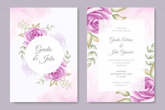 美しい花のエレガントな結婚式招待状水彩テンプレート
