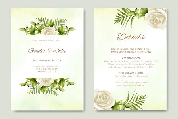 Шаблон свадебного приглашения с красивыми листьями и белыми розами