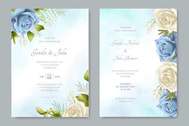 結婚式招待状白と青の花の水彩画テンプレート