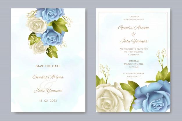 花束白いバラの花の水彩画の結婚式の招待状