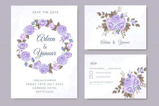 Установить цветочное свадебное приглашение с букетом