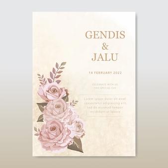 ビンテージの結婚式の招待カードテンプレートバラの花