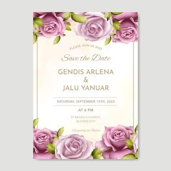 水彩の緑とバラの美しい結婚式の招待カードテンプレート