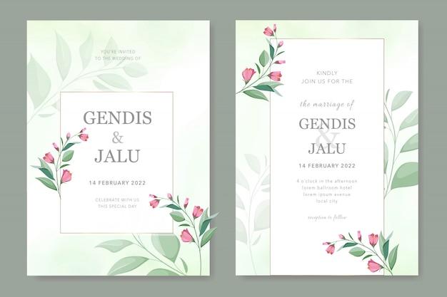 緑の結婚式の招待カードテンプレートセット