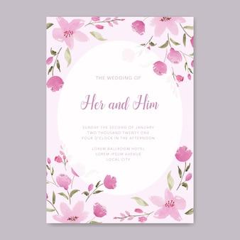 Элегантная розовая цветочная тема свадебного приглашения