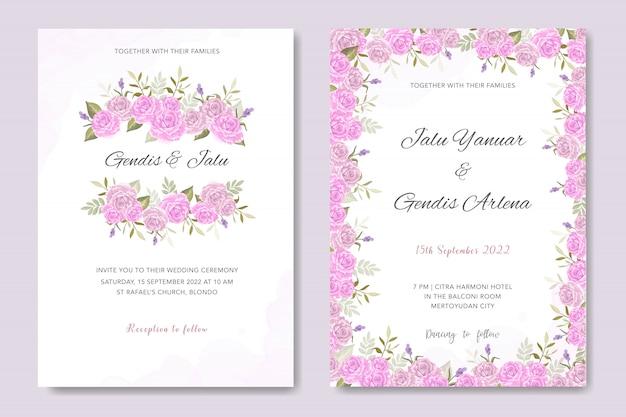 ピンクの花柄の結婚式の招待状