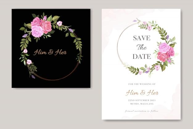 ベクトル花結婚式招待状カードのテンプレート