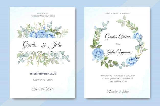 青いバラの花の結婚式の招待状
