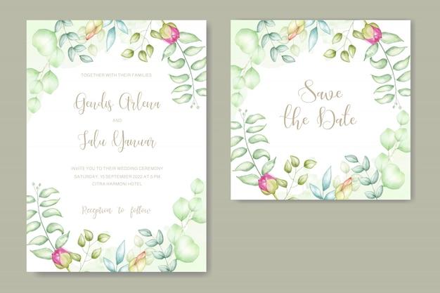 花の水彩画の結婚式の招待状