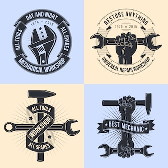 修理ワークショップのロゴ。エンブレムの仕組み。ツールの仕組み。