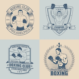 テーマボクシングのエンブレム-円形、三角形、長方形。ボクサーとスポーツのロゴ。