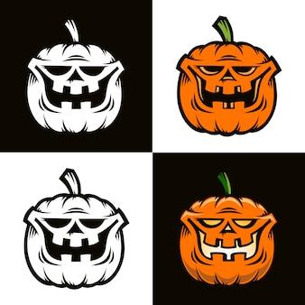 笑顔のオレンジ色のカボチャはハロウィーンのキャラクター