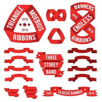 Экзотические красные ленточки для эмблем. лента мёбиуса для логотипов. треугольный баннер, бесконечный пояс, классические баннеры.