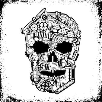 さまざまな機械的スペアパーツの黒と白の頭蓋骨、グランジフレームの金属くず。