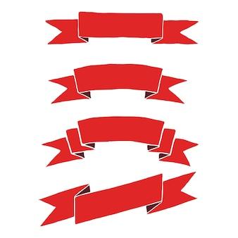 Красные праздничные ленты для гербов, логотипов, эмблем. ретро баннеры раскрашены вручную.