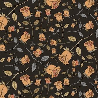 黒地にヴィンテージのバラのシームレスパターン。