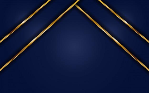 ゴールドラインと動的な抽象的な暗い青色の背景。背景抽象モダン