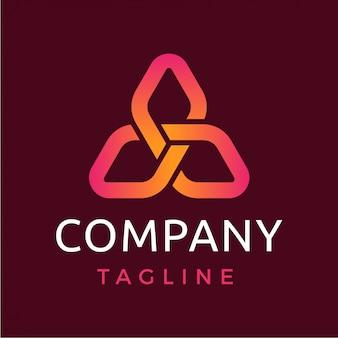 Абстрактный современный треугольник с бриллиантами логотип