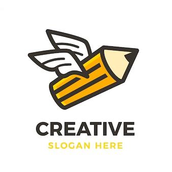 Креативный логотип летать карандашом