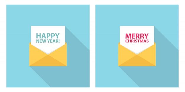 С рождеством и новым годом празднуют письмо, электронную почту, смс или сообщение. набор для праздничных поздравлений и приглашений.