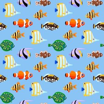 Симпатичные морские рыбы бесшовные модели. иллюстрации.