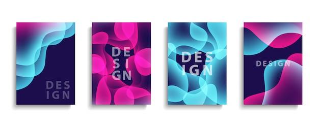Дизайн обложек с абстрактными формами жидкости. жидкие цветные фоны коллекции. шаблоны для брошюр, плакатов, баннеров и открыток